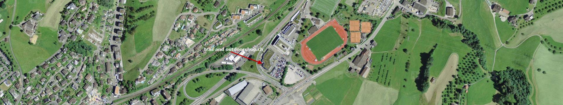Anfahrt und Situationsplan zu trail and outdoorshop.ch